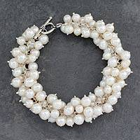 Pearl cluster bracelet, 'Calcutta Moon' - Pearl Handcrafted Bracelet from India Bridal Jewelry
