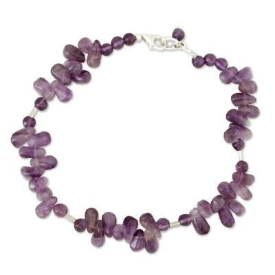 Amethyst beaded anklet
