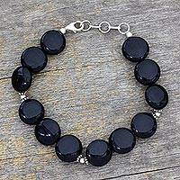 Onyx beaded bracelet, 'Destiny' - Onyx beaded bracelet