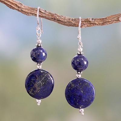 Lapis lazuli dangle earrings, 'Bihar Moons' - Lapis lazuli dangle earrings