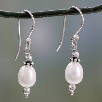 Cultured pearl dangle earrings, 'Destiny' - Cultured pearl dangle earrings