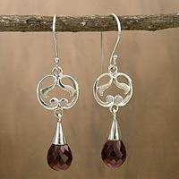 Garnet dangle earrings, 'Sweet Symmetry' - Sterling Silver and Garnet Earrings India Artisan Jewelry