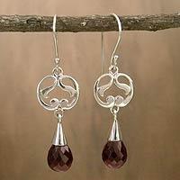 Garnet dangle earrings, 'Sweet Symmetry'