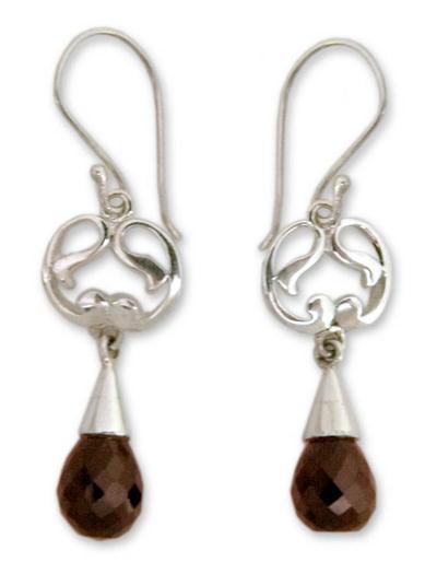Garnet dangle earrings, 'Sweet Symmetry' - Sterling Silver and Garnet Earrings India Artisan Jewelry