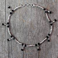 Onyx anklet, 'Jaipur Night' - Unique Sterling Silver Beaded Onyx Anklet
