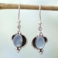 Chalcedony dangle earrings, 'Sky Charm'