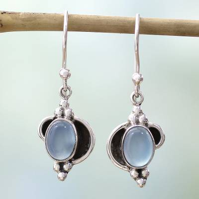 Chalcedony dangle earrings, 'Sky Charm' - Fair Trade Sterling Silver and Chalcedony Earrings