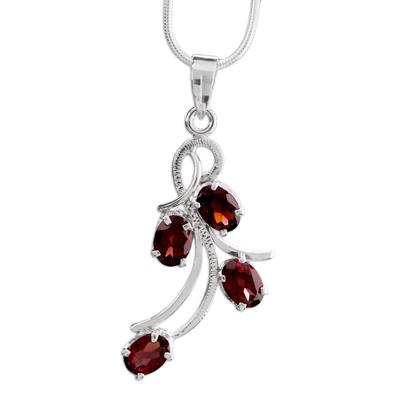 Garnet flower necklace, 'Scarlet Petals' - Garnet flower necklace