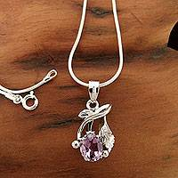 Amethyst necklace, 'Sweet Lilac'