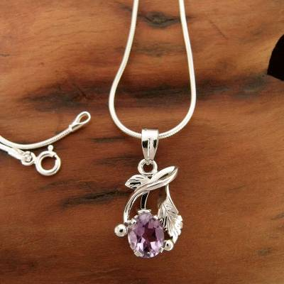 Amethyst necklace, 'Sweet Lilac' - Amethyst necklace
