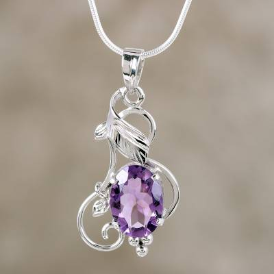 Amethyst pendant necklace, 'Summer Glory' - Amethyst pendant necklace