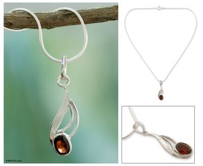 Garnet pendant necklace, 'Perfect Passion' - Garnet pendant necklace