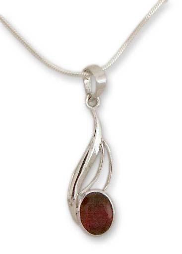 Garnet pendant necklace, 'Perfect Passion' - Garnet pendant necklace