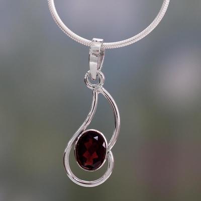 Garnet pendant necklace, 'Forever Scarlet' - Garnet pendant necklace
