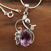 Amethyst flower necklace, 'Nostalgia' - Amethyst flower necklace
