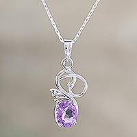 Amethyst pendant necklace, 'Goddess Dreamer' - Amethyst pendant necklace