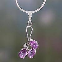 Amethyst pendant necklace, 'Mystic Wisdoms' - Amethyst pendant necklace
