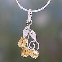 Citrine floral necklace, 'Bihar Buds' - Citrine floral necklace