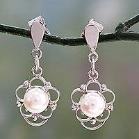 Pearl flower earrings, 'White Rose' - Pearl flower earrings