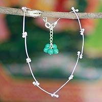 Sterling silver anklet, 'Be With Me' - Sterling Silver Anklet Turquoise Blue Magnesite India