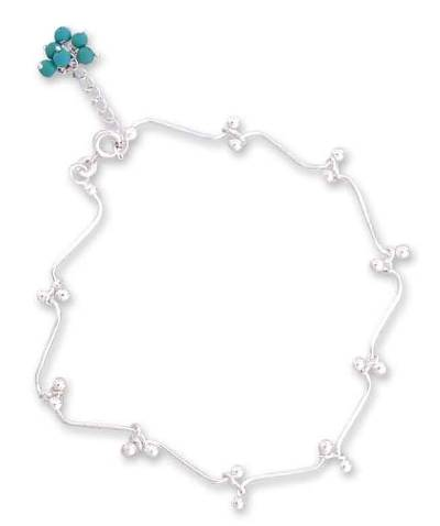 Sterling Silver Anklet Turquoise Blue Magnesite India