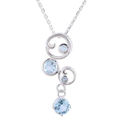 Blue topaz pendant necklace, 'In Circles' - Blue Topaz Necklace in Sterling Silver India Jewelry