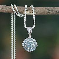 Blue topaz pendant necklace, 'Jaipur Star' - Blue Topaz Pendant in Women's Sterling Silver Necklace