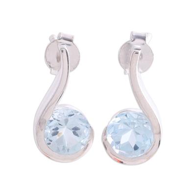 Blue Topaz Earrings in Sterling Silver Modern Jewelry