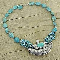 Sterling silver cluster necklace, 'Island Song' - Sterling Silver and Turquoise Colored Necklace