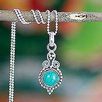 Sterling silver pendant necklace, 'Love Forever' - Sterling Silver Turquoise Colored Necklace