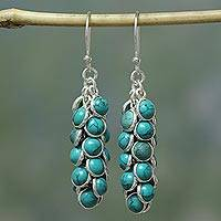 Sterling silver cluster earrings, 'Temptress' - Handcrafted Turquoise and Sterling Silver Waterfall Earrings