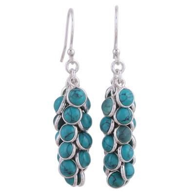 Blue Cluster Earrings Artisan Crafted Indian Jewelry