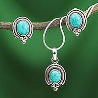 Sterling silver jewelry set, 'Song of Joy' - Sterling Silver and Magnesite Jewelry Set
