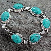 Sterling silver link bracelet, 'Lightning in the Sky' - Sterling Silver Bracelet with Turquoise Colored Gems