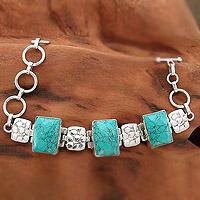 Sterling silver chain bracelet, 'Rocky River'