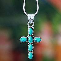 Sterling silver pendant necklace, 'Sky Blue Cross' - Turquoise Colored Cross Sterling Silver Pendant  Necklace