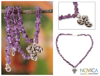 Amethyst flower necklace, 'Rose Trio' - Sterling Silver Flowers on Handmade Amethyst Beaded Necklace