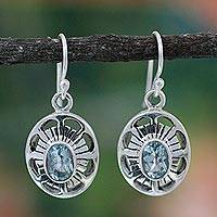 Blue topaz dangle earrings, 'Sky Halo'