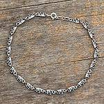 Sterling Silver Link Elephant Anklet Indian Jewelry, 'Elephant Parade'