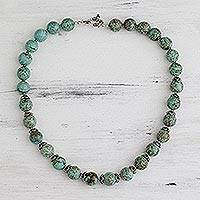 Magnesite beaded necklace, 'Dew Kissed' - Sterling silver strand necklace