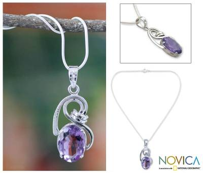 Amethyst pendant necklace, 'Jungle Orchid' - Amethyst pendant necklace