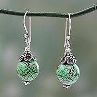Sterling silver beaded dangle earrings, 'Dew Kissed' - Sterling silver beaded dangle earrings