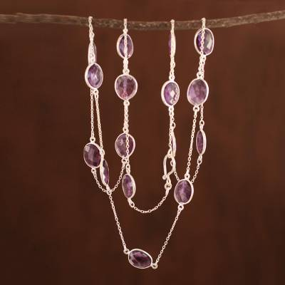 Amethyst long chain necklace, 'Duduma Majesty' - Amethyst Long Necklace with Sterling Silver