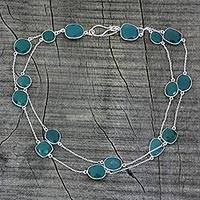 Sterling silver long chain necklace, 'Duduma Majesty'