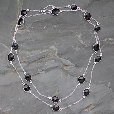 Smoky quartz long chain necklace, 'Duduma Majesty' - Sterling Silver and Smokey Quartz Station Necklace