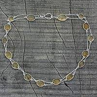 Lemon quartz long chain necklace, 'Duduma Majesty' - Handmade Sterling Silver and Quartz Station Necklace