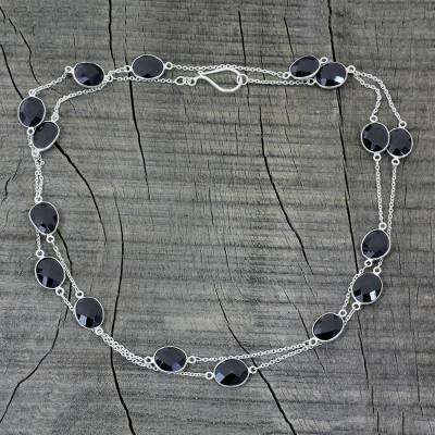Onyx long chain necklace, 'Duduma Majesty' - Sterling Silver with Onyx Station Necklace from India