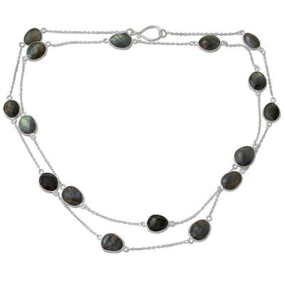 Labradorite and Sterling Silver Necklace Indian Jewelry