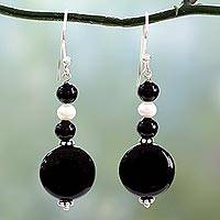Onyx and pearl dangle earrings, 'Midnight Kisses'