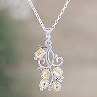 Citrine flower necklace, 'Sundrop Bouquet' -  Citrine Pendant Necklace in Sterling Silver from India